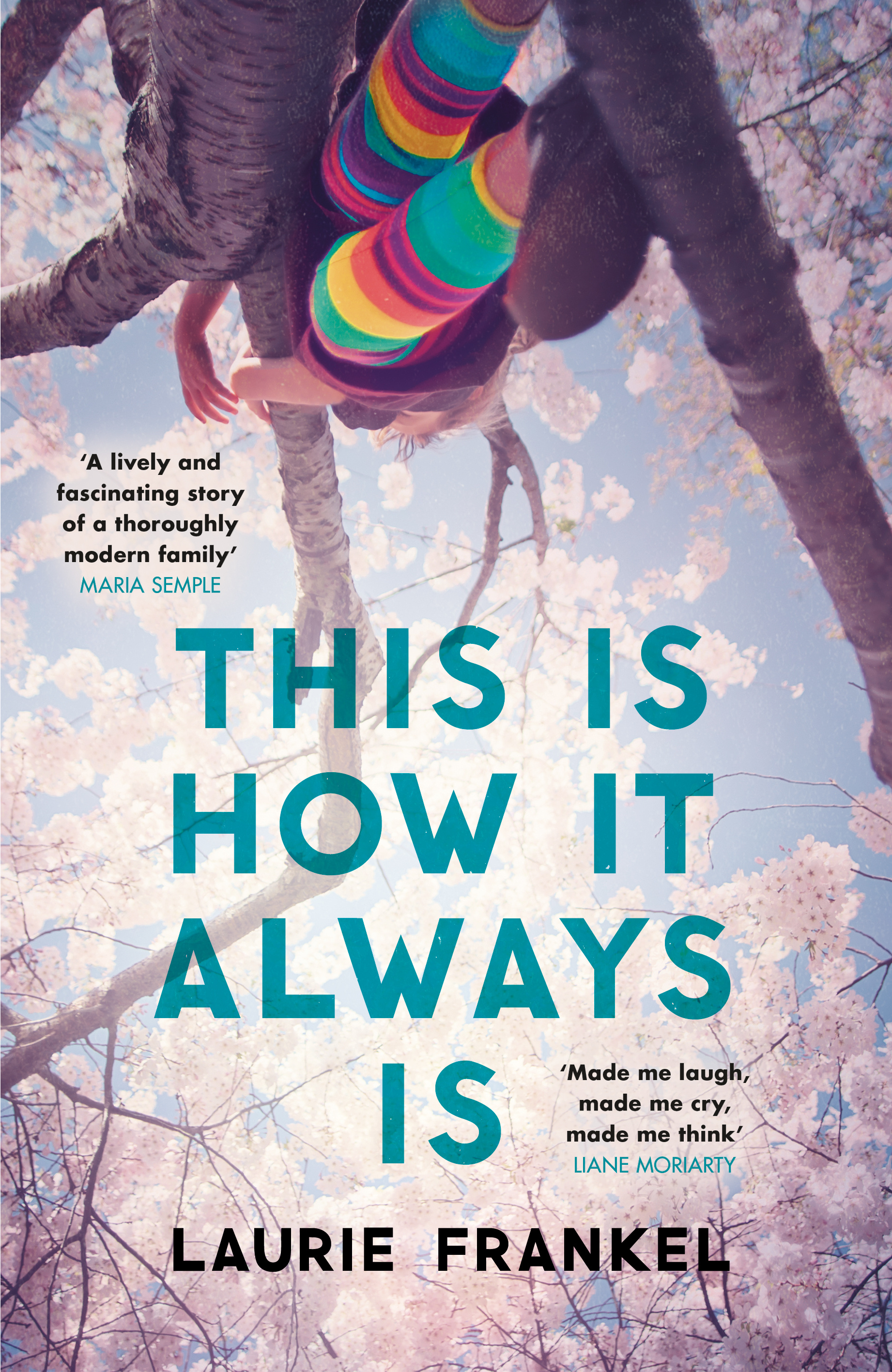 This is how it always is by Laurie Frankel: book cover. Legs encased in brightly coloured stripy socks and mary janes dangle from a branch where a girl appears to be sitting